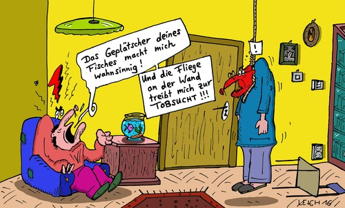Cartoon: Fly on the wall (medium) by Leichnam tagged fly,on,the,wall,fisch,fliege,geplätscher,selbstmord,strick,suizid,wahnsinnig,tobsucht,aufgehängt