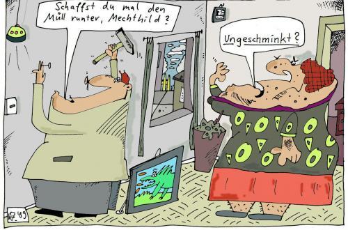 Cartoon: Müll rausbringen (medium) by Leichnam tagged müll,ungeschminkt,rausbringen,ehe,liebe