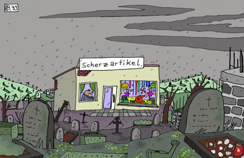 Cartoon: Stiller Totenacker (medium) by Leichnam tagged scherzartikel,totenacker,friedhof,stille,gräber,grabstein