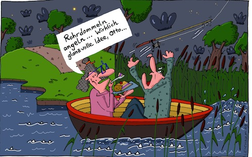 Cartoon: Tja ... (medium) by Leichnam tagged tja,tümpel,teich,see,otto,angeln,angelrute,rohrdommel,leichnam,leichnamcartoon
