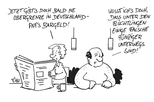 Cartoon: Obergrenze Bargeld (medium) by Trantow tagged obergrenze,bargeld,flüchtlinge,banken,obergrenze,bargeld,flüchtlinge,banken