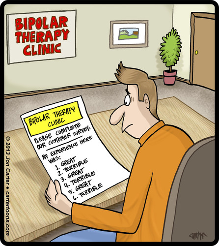 Cartoon: Bipolar Feedback Card (medium) by cartertoons tagged bipolar,psychology,customer,feedback,opinions,bipolar,psychology,customer,feedback,opinions