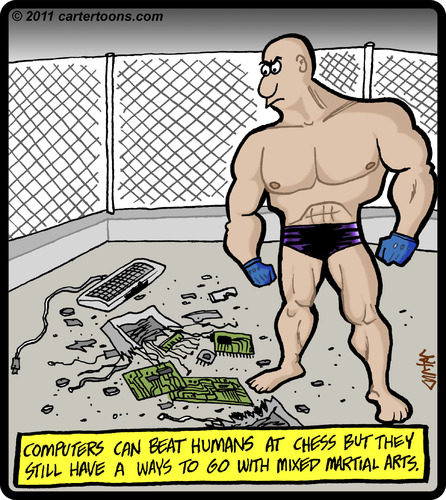 Cartoon: MMA Computer Takedown (medium) by cartertoons tagged mma,mixed,martial,arts,fighting,computers,fighter