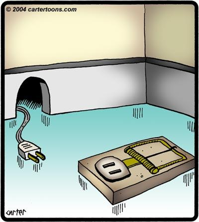 Cartoon: Outlet trap (medium) by cartertoons tagged electrical,outlet,plug,mouse,trap,hole