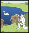 Cartoon: Origami Hunter (small) by cartertoons tagged origami,hunters,hunting,game,paper,swan,duck,wildlife,recreation,surreal
