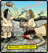 Cartoon: Prehistoric Pillow Fights (small) by cartertoons tagged cavemen,prehistoric,rocks,pillow,fights,traditions,games