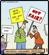 Cartoon: Puncuation-challenged protesters (small) by cartertoons tagged protest,signs,punctuation,protesters