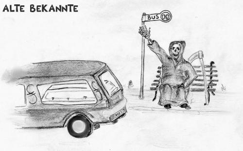 Cartoon: Alte bekannte (medium) by swenson tagged tod,auto,treffen