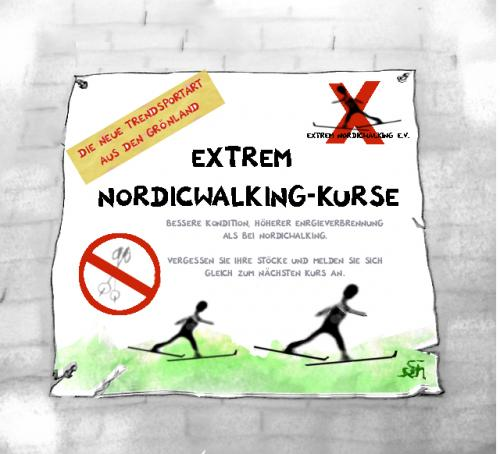 Cartoon: Xtrem Nordicwalking (medium) by swenson tagged sport,nordicwalking