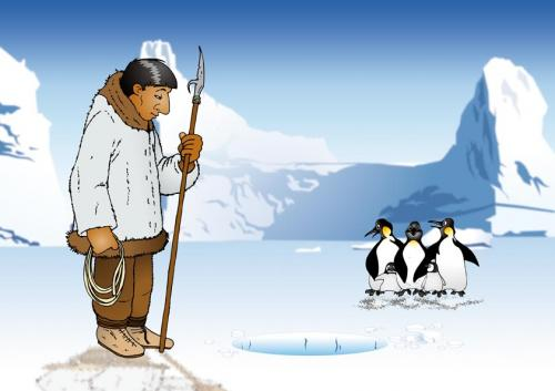 Cartoon: Eskimo at work (medium) by bananajoe tagged eskimo,pinguin,antarctic,fishing,ice,cold,