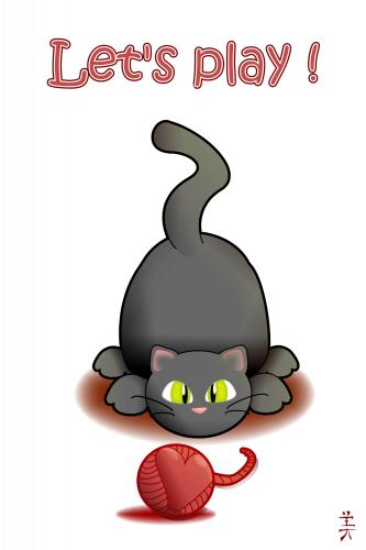 Cartoon: Ich will doch nur Spielen! (medium) by Fubuki tagged cat,animal,katze,tier,spielen,herz,liebe,play,heart,game,love,shirt,cute,süß,sweet,pet,haustier,wollknäul