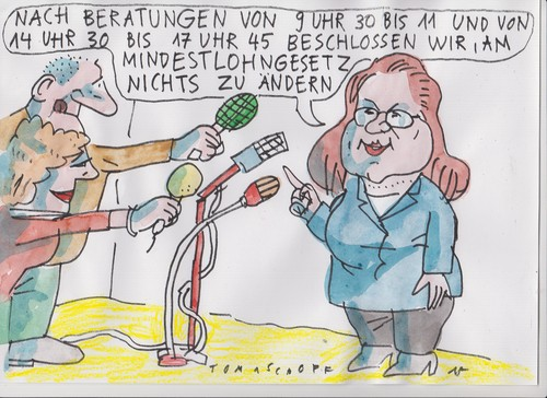 Cartoon: Bürokratie (medium) by Jan Tomaschoff tagged mindestlohn,bürokratie,mindestlohn,bürokratie