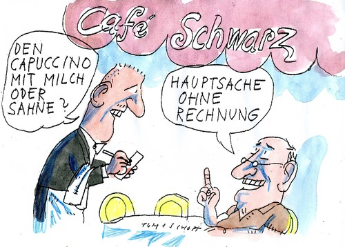 Cartoon: Cafe Schwarz (medium) by Jan Tomaschoff tagged schwarzarbei,steuerhinbterziehung,schwarzarbei,steuerhinbterziehung