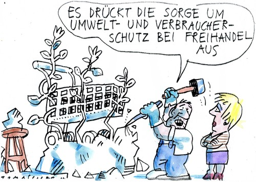 Cartoon: Freihandel (medium) by Jan Tomaschoff tagged ttip,verbraucherschutz,umweltschutz,ttip,verbraucherschutz,umweltschutz