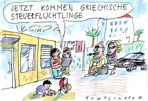 Cartoon: Griechenlandkrise (medium) by Jan Tomaschoff tagged griechenland,steuern,griechenland,steuern
