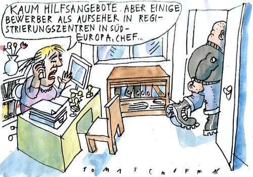 Cartoon: Helfer (medium) by Jan Tomaschoff tagged migration,fremdenhass,migration,fremdenhass