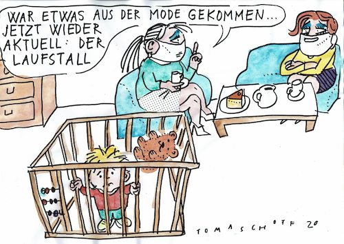 Cartoon: Laufstall (medium) by Jan Tomaschoff tagged corona,lockdown,kinder,corona,lockdown,kinder