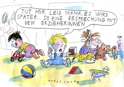 Cartoon: Meeting in Kita (medium) by Jan Tomaschoff tagged kinder,handys,kitas,kinder,handys,kitas