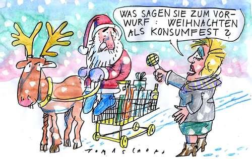 Cartoon: Nacheihnachtlicher Gruß (medium) by Jan Tomaschoff tagged weihnachten,konsum