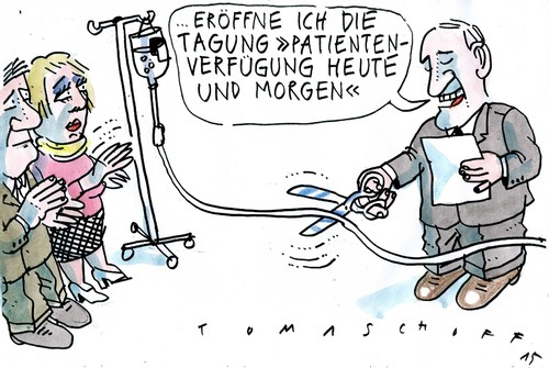 Cartoon: Patientenverfügung (medium) by Jan Tomaschoff tagged sterbehilfe,palliativmedizin,sterbehilfe,palliativmedizin