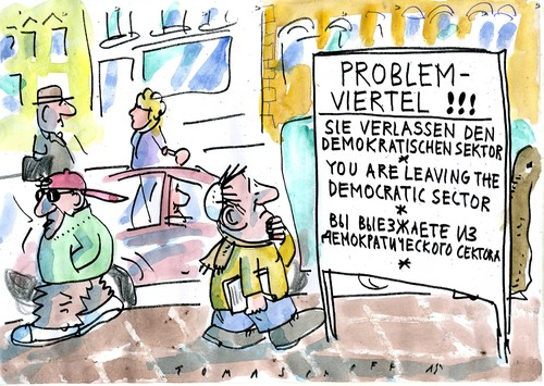 Cartoon: Problemviertel (medium) by Jan Tomaschoff tagged antisemitismus,intoleranz,antisemitismus,intoleranz