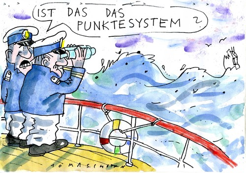 Cartoon: Punktesystem (medium) by Jan Tomaschoff tagged einwanderung,einwanderung