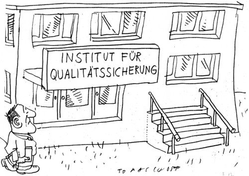 Cartoon: Qualitätssicherung (medium) by Jan Tomaschoff tagged qualitätssicherung,qualitätssicherung