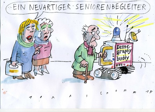 Cartoon: Seniorenbegleiter (medium) by Jan Tomaschoff tagged alter,demographie,senioren,alter,demographie,senioren