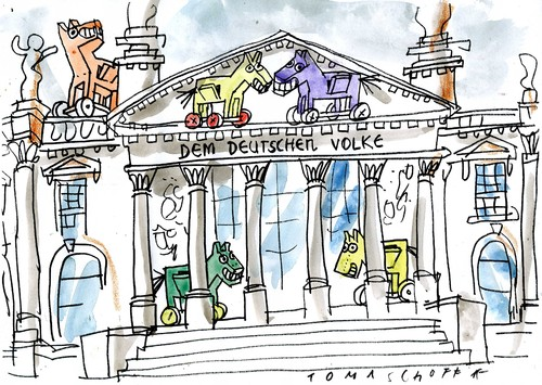 Cartoon: Trojaner im Reichstag (medium) by Jan Tomaschoff tagged trojaner,cyber,angriff,trojaner,cyber,angriff