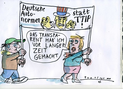 Cartoon: TTIP (medium) by Jan Tomaschoff tagged fairness,business,usa,fairness,business,usa