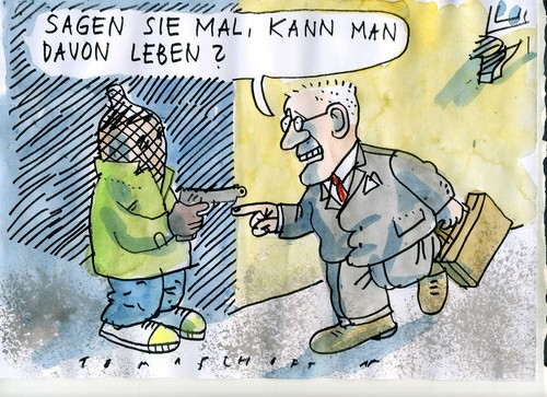 Cartoon: Überfall (medium) by Jan Tomaschoff tagged geld,geld