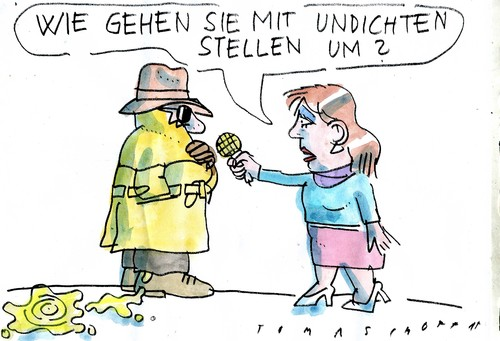 Cartoon: undicht (medium) by Jan Tomaschoff tagged geheimdienste,indiskretion,geheimdienste,indiskretion