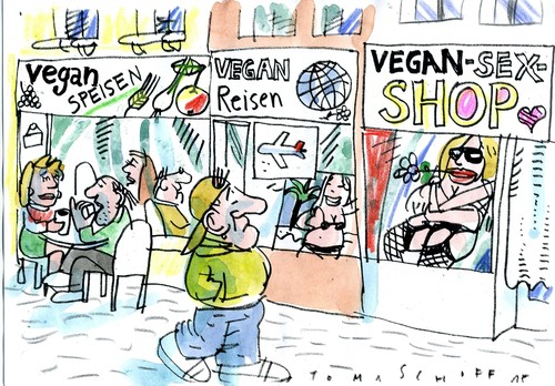 Cartoon: vegan leben (medium) by Jan Tomaschoff tagged vegan,vegan