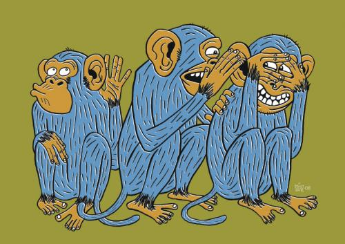 Cartoon: 3 wise monkeys (medium) by stevz tagged monkey,stevz