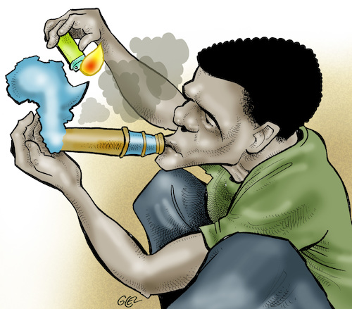 Cartoon: Drugs in Africa (medium) by Damien Glez tagged drug,africa,marijuana,cocaine,trafficking,trafficker,drug,africa,marijuana,cocaine,trafficking,trafficker