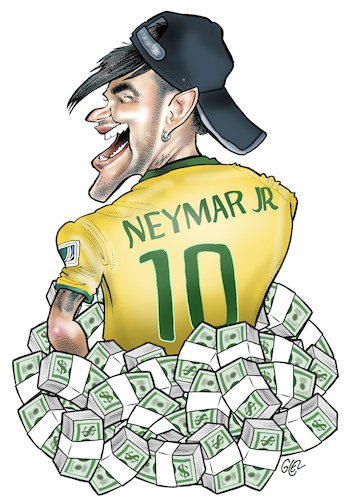 Cartoon: Neymar junior (medium) by Damien Glez tagged footballer,neymar,brazilian,paris,football,footballer,neymar,brazilian,paris,football