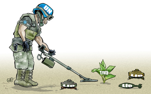 Cartoon: Peacekeepers truth and lie (medium) by Damien Glez tagged peacekeepers,truth,lie,peacekeepers,truth,lie