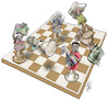 Cartoon: Refugees are pawns (small) by Damien Glez tagged refugees,conflicts,war,exile,africa,immigration