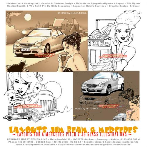 Cartoon: Advertising Layouts (medium) by FeliXfromAC tagged layout,by,frau,woman,advertising,storyboard,cars,girls,mood,moody,stimmung,alias,reinhard,horst,design,line,two,color,sepia,autos,drinks,poster,seagram,