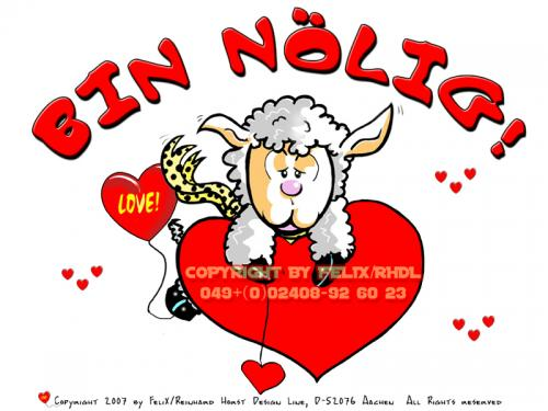 Cartoon: Bin nölig (medium) by FeliXfromAC tagged sheeps,in,love,schaf,schafe,cartoon,handy,mobile,services,liebe,funny,tiere,animals,stockart,