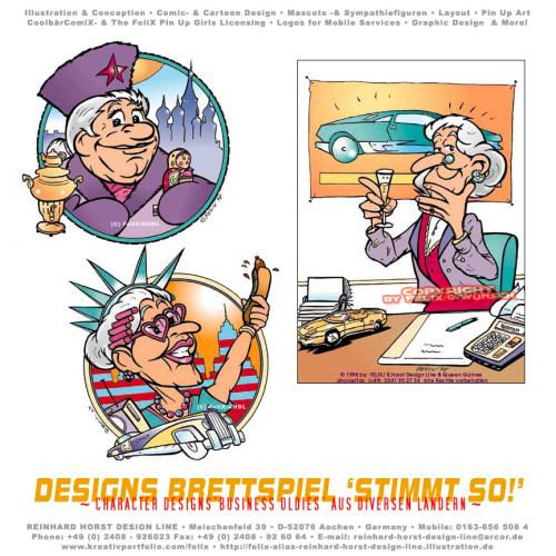 Cartoon: Cartoon Oldies (medium) by FeliXfromAC tagged cartoon,comic,illustration,stockart,comix,felix,alias,reinhard,horst,aachen,design,line,oma,omma,grandma,grossmutter,business,geschäft,stimmt,son,cardboard,game,spiel,spieledesign