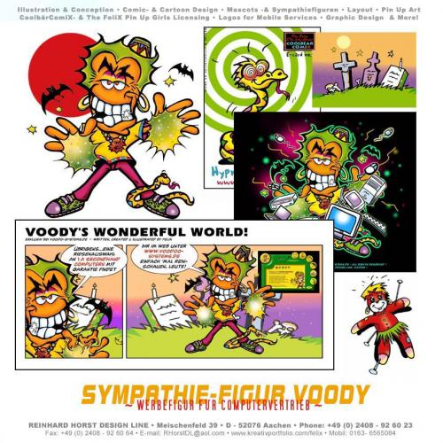 Cartoon: Character Voody - Sympathiefigur (medium) by FeliXfromAC tagged character,stockart,mascot,voody,man,mann,figur,sympathiefigur,felix,alias,reinhard,horst,halloween,grusel,fledermaus,vodoo,design,line,aachen,