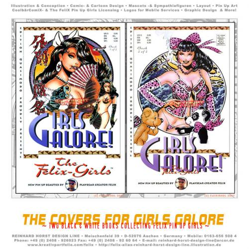 Cartoon: Cover Designs Girls Galore (medium) by FeliXfromAC tagged girls,galore,frau,woman,pin,up,sexy,alias,reinhard,horst,design,line,glamour,comic,comix,aachen,poster,stockart,
