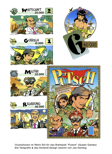 Cartoon: Game Design im Retro Look (medium) by FeliXfromAC tagged gamedesign,brettspiel,putsch,spielkarten,reinhard,horst,design,line,aachen,illustration,illustrator,zeichner,comic,pinup,germany,bananenrepublik,umsturz,retro,militär,diktatur