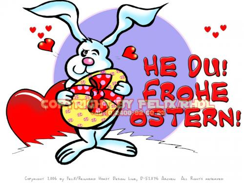 Cartoon: Happy Easter-Frohe Ostern 01 (medium) by FeliXfromAC tagged nice,animals,tiere,tier,stockart,logos,sympathiefiguren,mascots,wallpapers,characters,characterdesign,figuren,hey,melde,dich,whimsical,felix,alias,design,line,red,love,herzen,beziehung,aachen,hase,rabbit,hare,ostern,eastern,g