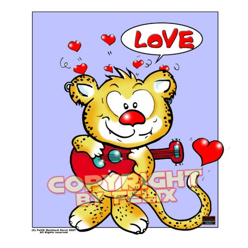 Cartoon: Katzenjammer Love-Lovecrazy Leo (medium) by FeliXfromAC tagged leo,love,tiere,lovecrazy,character,design,handy,wallpaper,leopard,gitarre,gesang,comic,comix,cartoon,felix,alias,reinhard,horst,