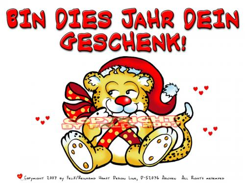 Cartoon: Merry X-Mas-Lovecrazy Leo (medium) by FeliXfromAC tagged leo,love,tiere,lovecrazy,character,design,handy,wallpaper,leopard,christmas,comic,comix,cartoon,xmas,weihnachten,felix,alias,reinhard,horst,