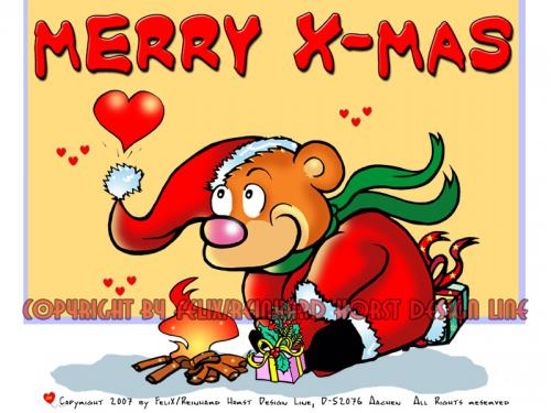 Cartoon: Merry X-Mas Cartoon (medium) by FeliXfromAC tagged charakter,model,sheet,felix,alias,reinhard,horst,aachen,glückwunsch,greeting,herz,mascot,sympathiefigur,blau,bär,bear,design,line,layout,entwurf,rot,red,comic,xmas,weihnachten,cartoon,illustration,stockart