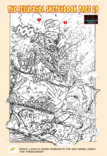 Cartoon: Pencils for a comicpage (medium) by FeliXfromAC tagged felix,alias,reinhard,horst,aachen,design,line,comic,cartoon,illustration,action,pencils,layout,comicbook,die,vergessenen,sketchbook