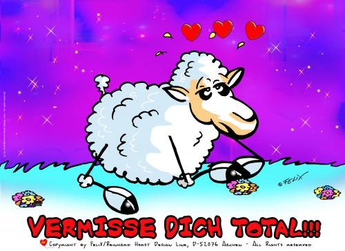 Cartoon: Sheep In Love! The Postcard 01 (medium) by FeliXfromAC tagged sheep,in,love,verliebt,felix,alias,reinhard,horst,design,line,aachen,illustration,comic,cartoon,poster,mascot,liebe,schaf,schafe,handy,mobile,services,funny,tiere,animals